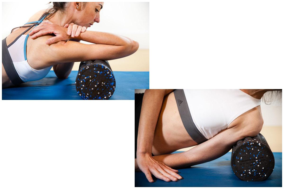 Entrenamiento y masajes con Foam Roller: Tríceps y deltoides