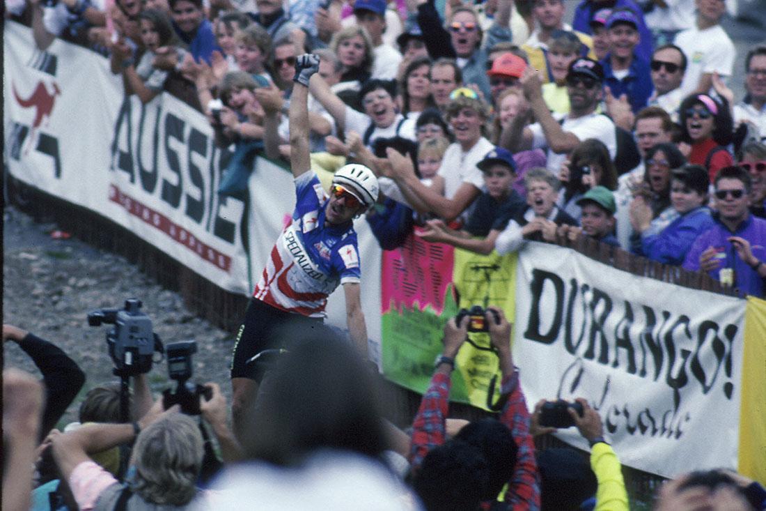 Ned Overend ganando el 1er Mundial de MTB en Durango, Colorado (1990)